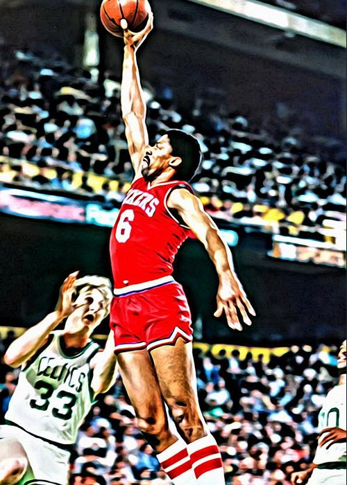 Julius Erving Greeting Card featuring the painting Julius Erving by Florian Rodarte