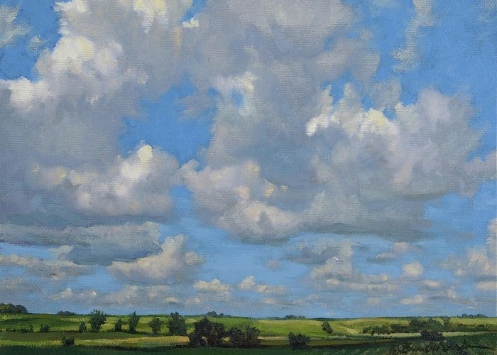 Summer Landscape Greeting Card featuring the painting July In The Valley by Bruce Morrison