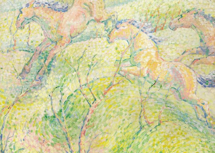 Blaue Reiter; Expressionist; German Expressionist: Bright; Colourful; Stylised; Jumping; Horse; Horses ;pointillist; Divisionist; Leaping; Wild; Landscape; Rural; Countryside; Trees; Spring; Springtime; Energy; Speed; Running Greeting Card featuring the painting Jumping Horses by Franz Marc