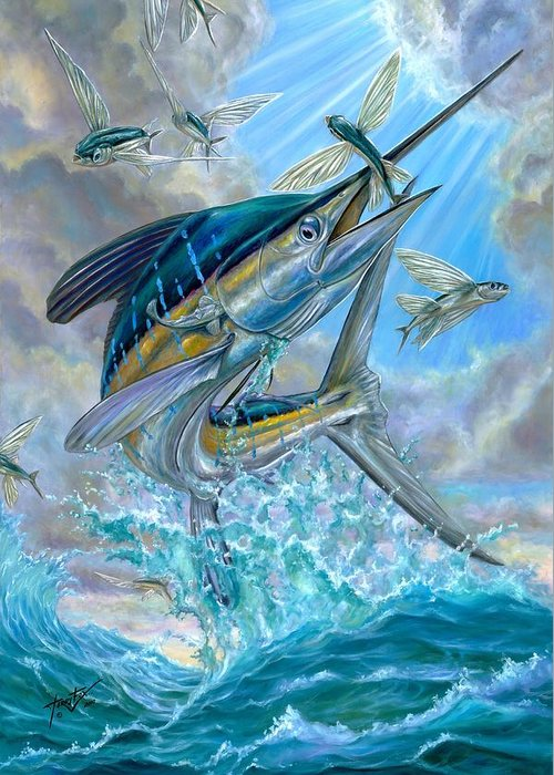 White Marlin Greeting Card featuring the painting Jumping White Marlin And Flying Fish by Terry Fox