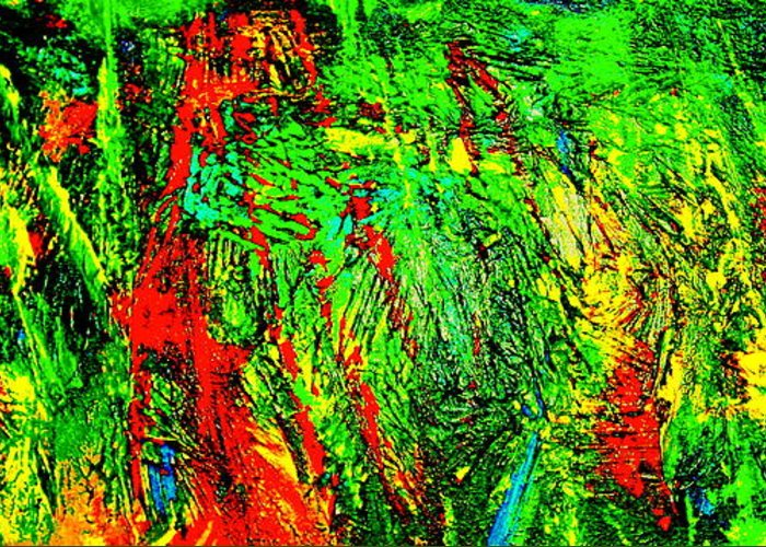 Abstract Painting Print Greeting Card featuring the painting Jungle Beat by Monique Wegmueller