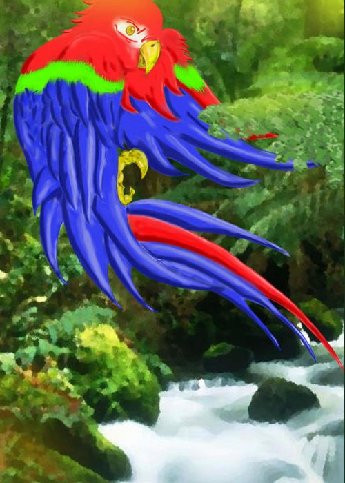 Parrot Greeting Card featuring the digital art Jungle Quaker by John Kreiter