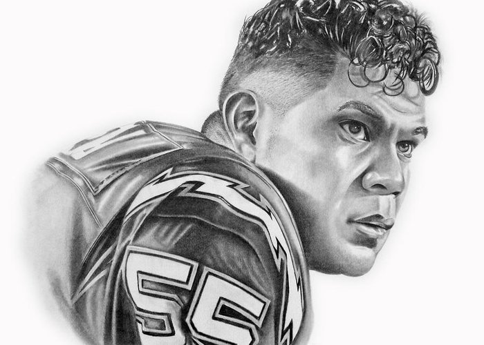 Jr Greeting Card featuring the drawing Junior Seau by Don Medina
