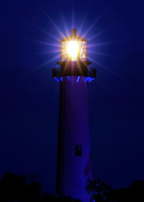 Lighthouse Greeting Card featuring the photograph Jupiter Blue by Donnie Shackleford
