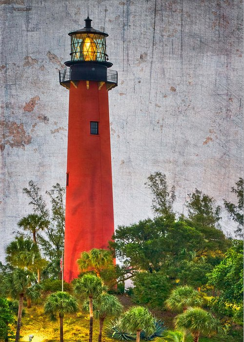 Clouds Greeting Card featuring the photograph Jupiter Lighthouse by Debra and Dave Vanderlaan