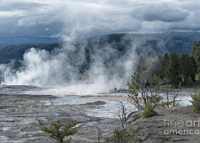 Yellowstone Greeting Card featuring the photograph Just Before The Storm - Mammoth Hot Springs by Sandra Bronstein