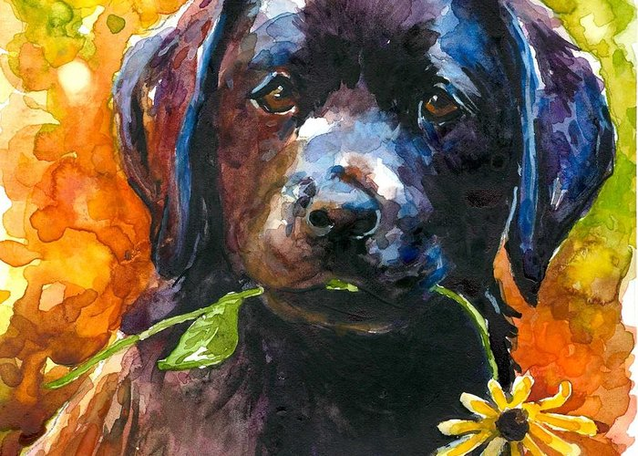 Black Lab Puppy Greeting Card featuring the painting Just Picked by Molly Poole