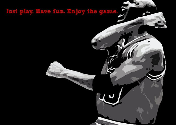 Michael Jordan Greeting Card featuring the digital art Just Play by Mike Maher