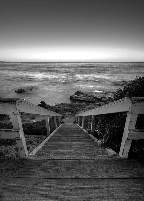 Beach Art Greeting Card featuring the photograph Just Steps To The Sea  Black And White by Peter Tellone