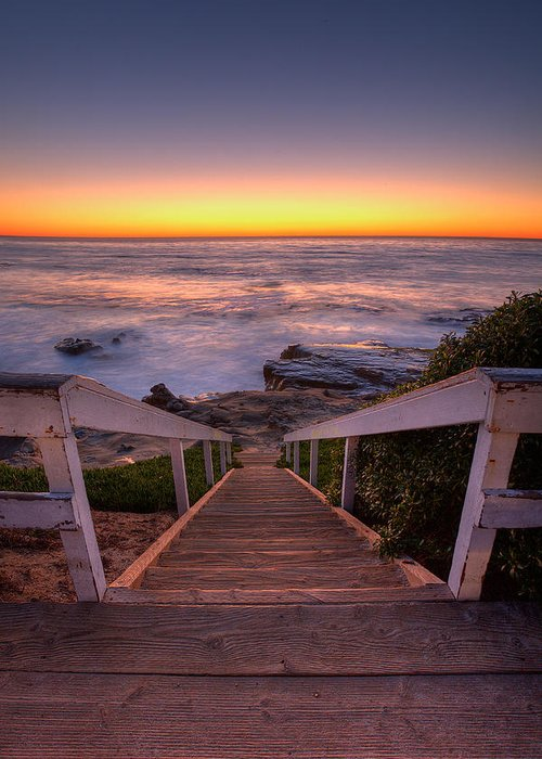 Ocean Greeting Card featuring the photograph Just Steps To The Sea by Peter Tellone