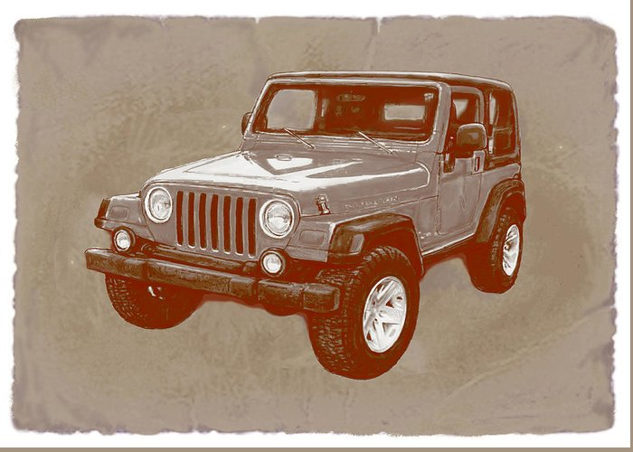 Justjeepn's 2005 Jeep Wrangler Rubicon - Pop Art Greeting Card featuring the drawing Justjeepn's 2005 Jeep Wrangler Rubicon Car Art Sketch Poster by Kim Wang