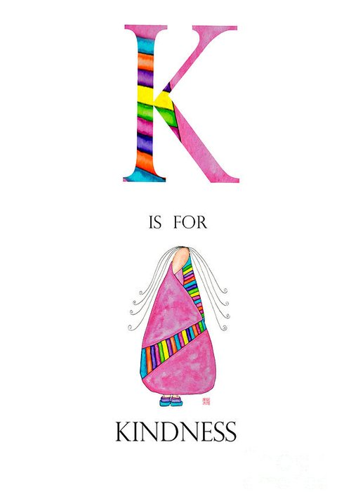 Greeting Card featuring the painting K Is For Kindness by Emily Lupita Studio