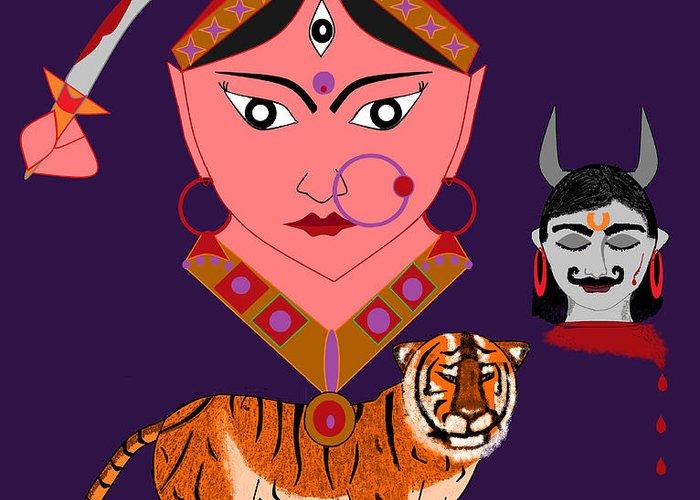 Nava Durga Greeting Card featuring the digital art Kaatyayani by Pratyasha Nithin