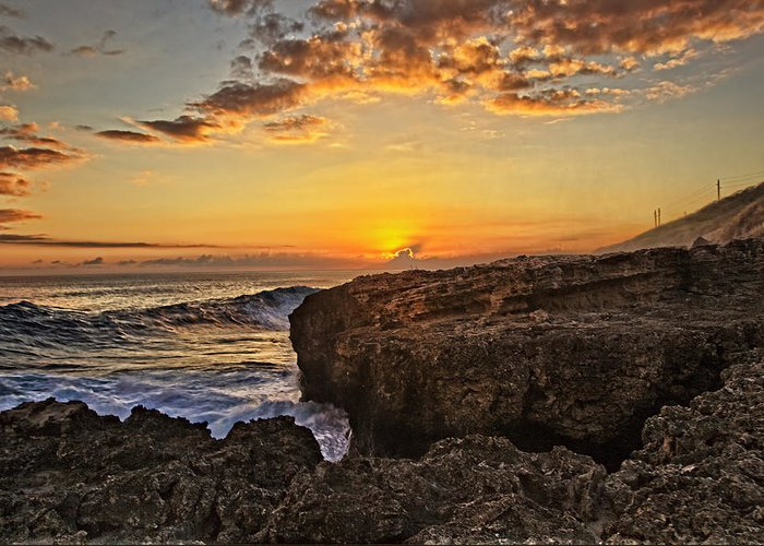 Landscape Greeting Card featuring the photograph Kaena Point Sunset by Marcia Colelli