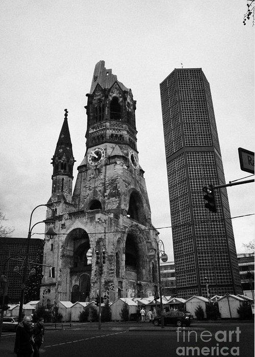 Berlin Greeting Card featuring the photograph Kaiser Wilhelm Gedachtniskirche Memorial Church New Bell Tower And Christmas Market Berlin Germany by Joe Fox