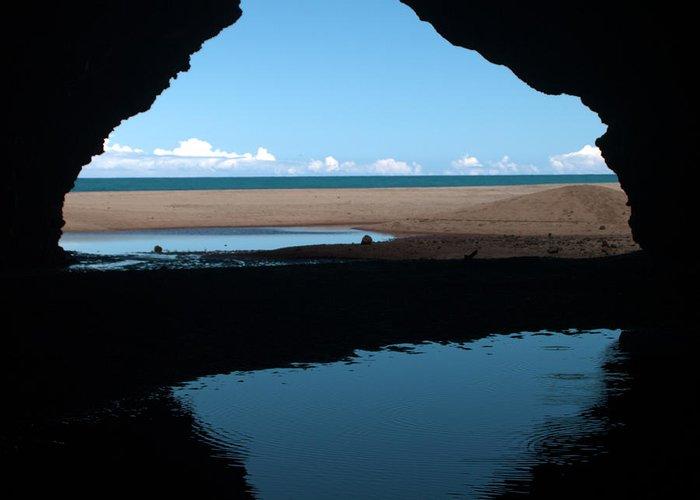 Kalalau Trail Beach Cave Silhouette Kauai Hawaii Greeting Card featuring the photograph Kalalau Cave by Brian Harig