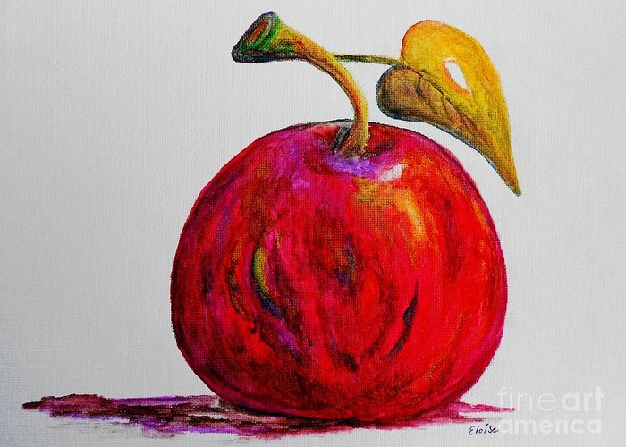 Apple Greeting Card featuring the painting Kaleidoscope Apple -- Or -- Apple For The Teacher by Eloise Schneider