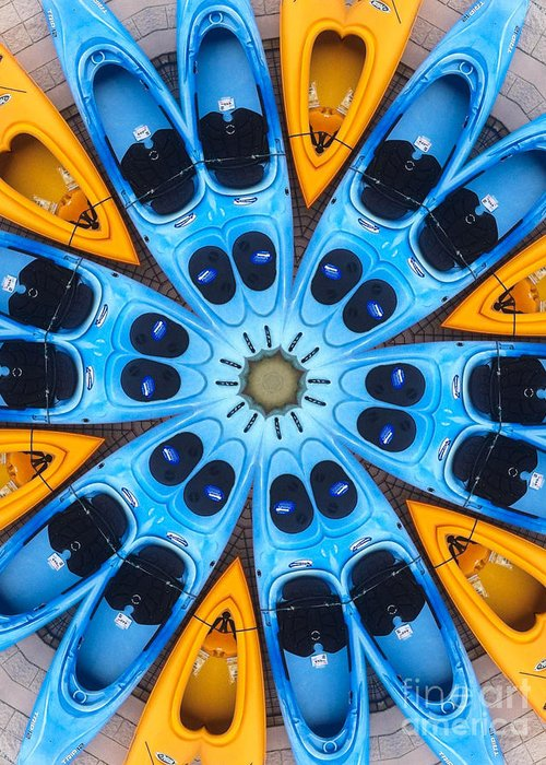 Boat Greeting Card featuring the digital art Kaleidoscope Canoes by Amy Cicconi