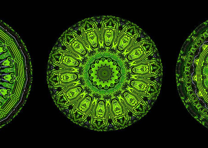 Abstract Greeting Card featuring the digital art Kaleidoscope Triptych Of Glowing Circuit Boards by Amy Cicconi
