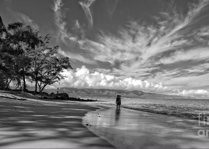 Hawaii Greeting Card featuring the photograph Kanahna Beach Maui Hawaii Panoramic by Edward Fielding