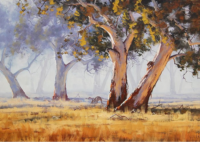 Eucalyptus Trees Greeting Card featuring the painting Kangaroo Grazing by Graham Gercken