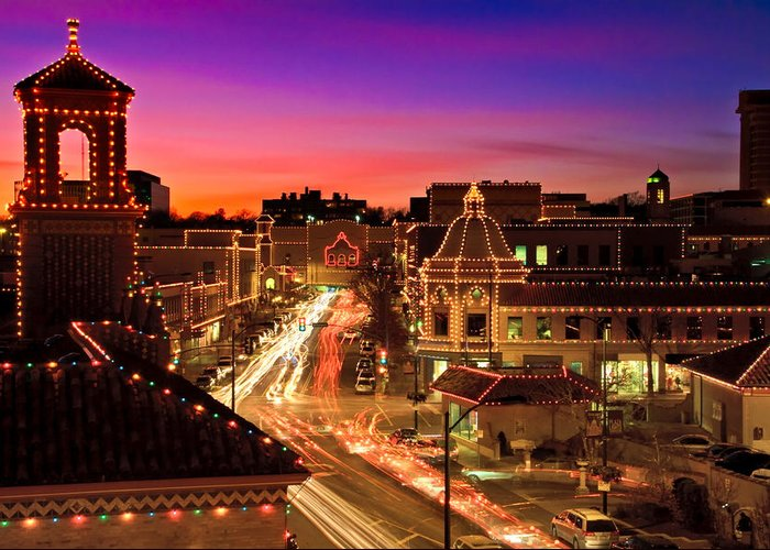 Architecture Greeting Card featuring the photograph Kansas City Plaza Christmas Lights Skyline by Tommy Brison