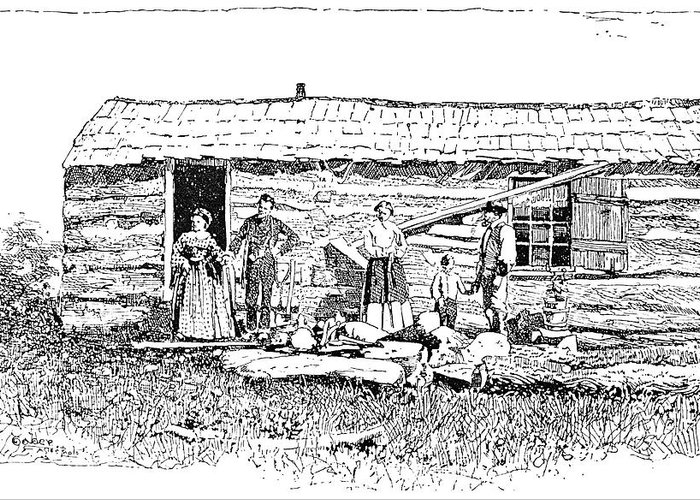 1854 Greeting Card featuring the painting Kansas Early House, 1854 by Granger