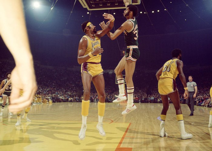 Marvin Newman Greeting Card featuring the photograph Kareem Abdul Jabbar by Retro Images Archive