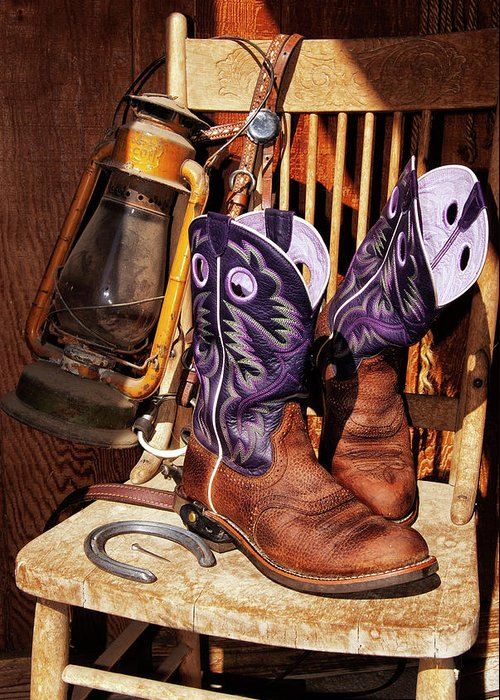 Cowgirl Greeting Card featuring the photograph Karen's Cowgirl Gear by Sandra Selle Rodriguez