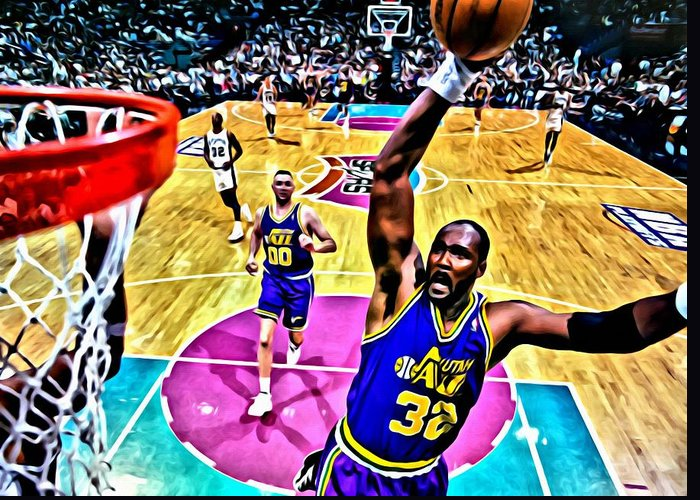 Nba Greeting Card featuring the painting Karl Malone by Florian Rodarte