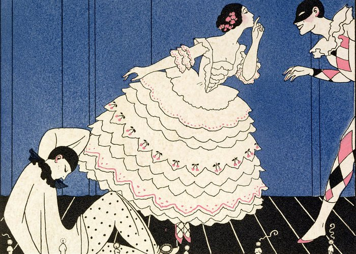 Stencil Greeting Card featuring the painting Karsavina by Georges Barbier