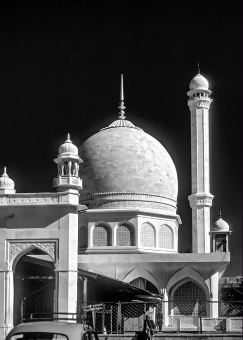 India Greeting Card featuring the photograph Kashmir Mosque Monochrome by Steve Harrington
