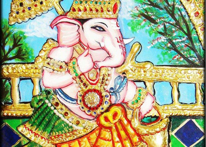 Tanjore Greeting Card featuring the painting Kasi Yatra Ganesh by Jayashree
