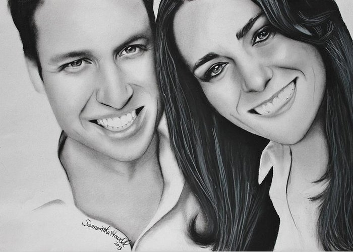 Kate And William Greeting Card featuring the drawing Kate And William by Samantha Howell