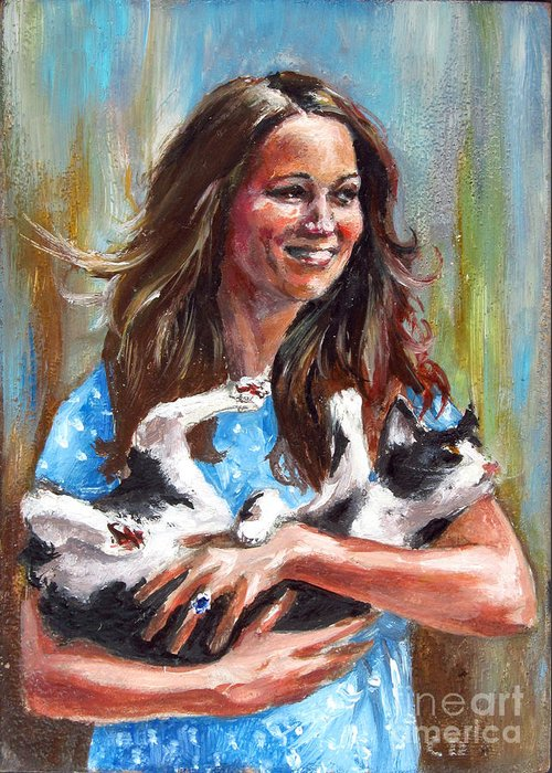 Funny Greeting Card featuring the painting Kate Middleton Duchess Of Cambridge And Her Royal Baby Cat by Daniel Cristian Chiriac