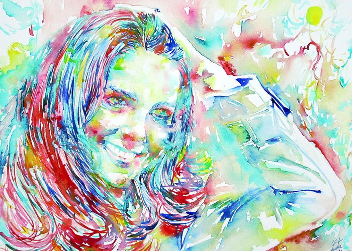 Kate Greeting Card featuring the painting Kate Middleton Portrait.1 by Fabrizio Cassetta