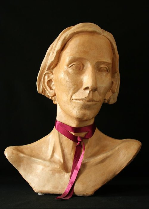 Portrait Sculpture Greeting Card featuring the sculpture Katherine by Flow Fitzgerald