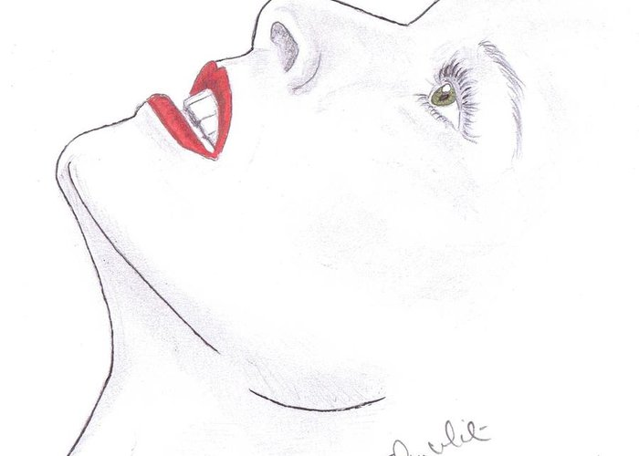 Katherine Hepburn Greeting Card featuring the drawing Katherine by Steven White