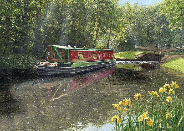 Landscape Greeting Card featuring the painting Kathleen May Chesterfield Canal Nottinghamshire by Richard Harpum
