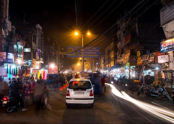 Allahabad Greeting Card featuring the photograph Katra Market by Gaurav Singh