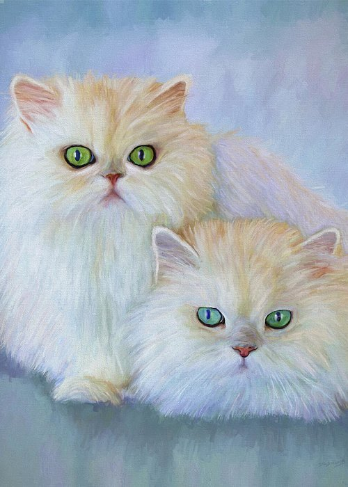 Cat Greeting Card featuring the painting Katrina And Bjorn by David Wagner