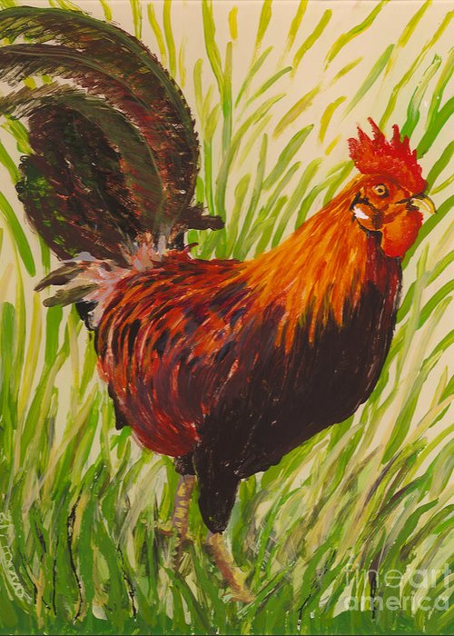 Hawaii Birds Greeting Card featuring the painting Kauai Rooster by Anna Skaradzinska