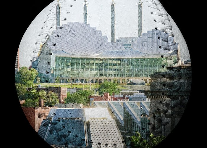 Baseball Greeting Card featuring the photograph Kauffman Center For The Performing Arts Square Baseball by Andee Design