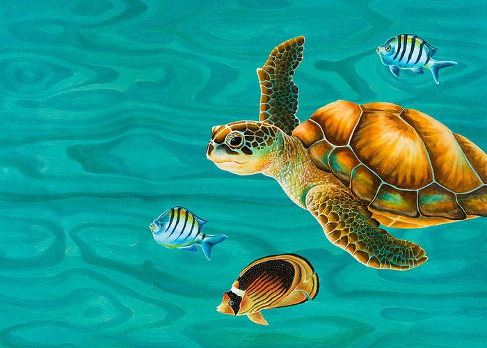 Emily Brantley Greeting Card featuring the painting Kauila Sea Turtle by Emily Brantley