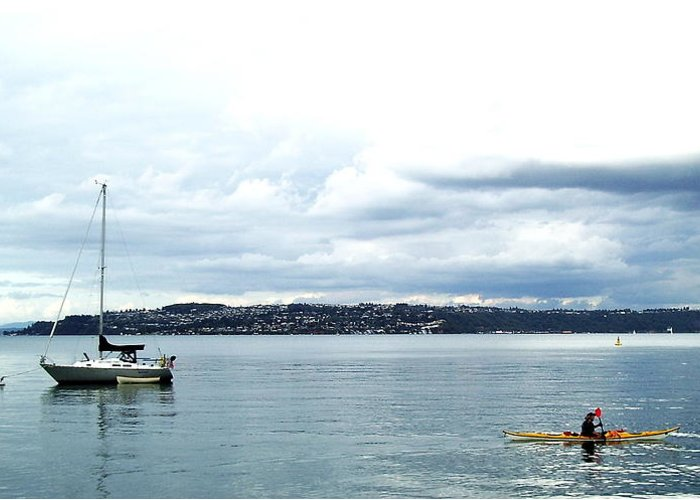 Kayak Greeting Card featuring the photograph Kayak And Boat by David Lucero