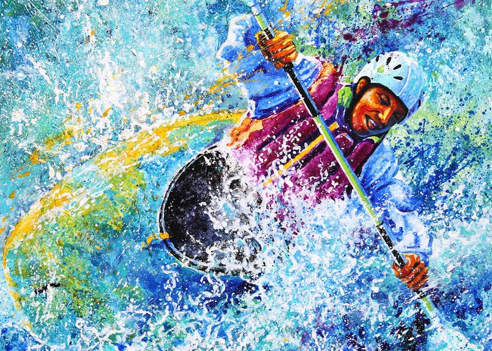 Sports Art Greeting Card featuring the painting Kayak Crush by Hanne Lore Koehler