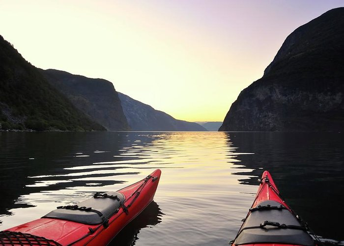 Scenics Greeting Card featuring the photograph Kayak In Norway by Sjo