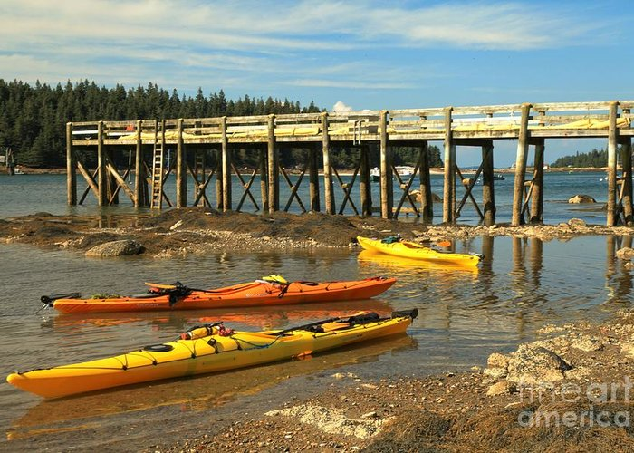Acadia National Park Greeting Card featuring the photograph Kayaks By The Pier by Adam Jewell
