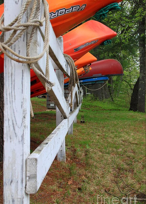 Spring In Maine Greeting Card featuring the photograph Kayaks On A Fence by Michael Mooney