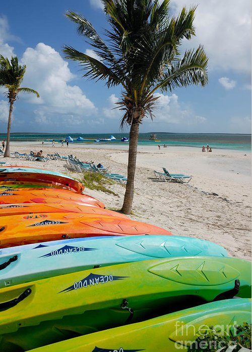 Bahamas Greeting Card featuring the photograph Kayaks On The Beach by Amy Cicconi